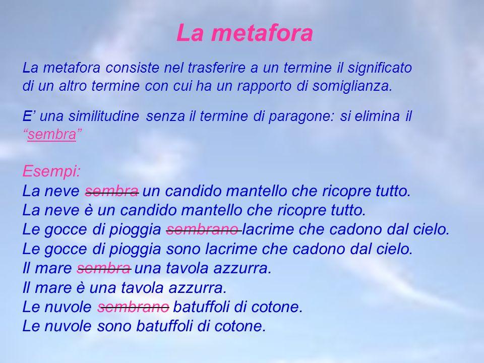 La metafora La metafora consiste nel trasferire a un termine il significato di un altro termine con cui ha un rapporto di somiglianza. E una similitud