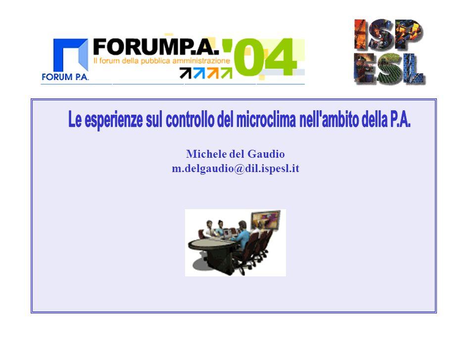 Legislazione M.Del Gaudio – Le esperienze sul controllo del microclima nellambito della P.A.