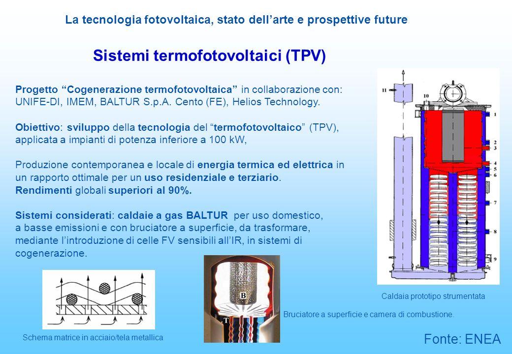 La tecnologia fotovoltaica, stato dellarte e prospettive future Sistemi termofotovoltaici (TPV) Progetto Cogenerazione termofotovoltaica in collaboraz