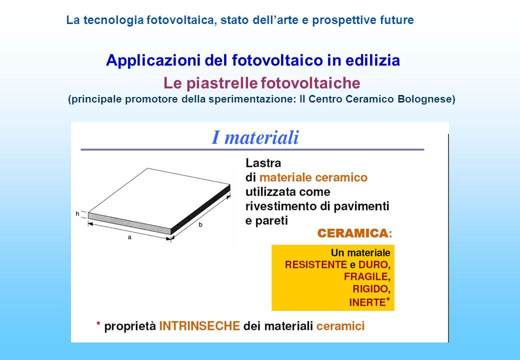 La tecnologia fotovoltaica, stato dellarte e prospettive future Applicazioni del fotovoltaico in edilizia Le piastrelle fotovoltaiche (principale prom