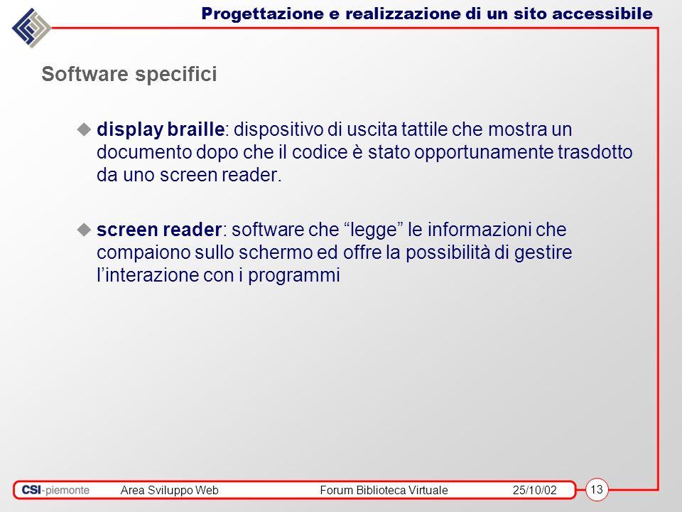 Area Sviluppo WebForum Biblioteca Virtuale25/10/02 13 Software specifici display braille: dispositivo di uscita tattile che mostra un documento dopo che il codice è stato opportunamente trasdotto da uno screen reader.