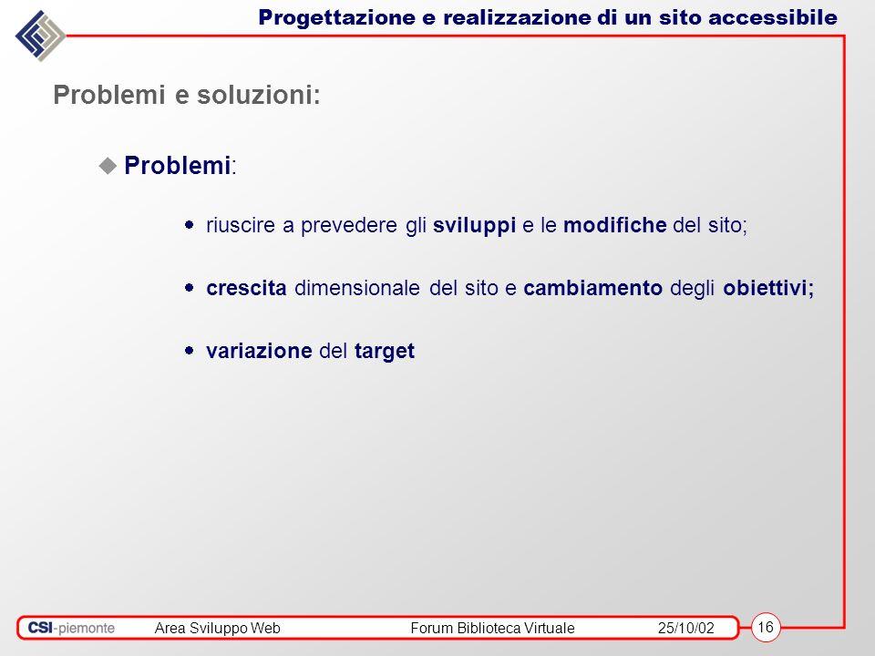 Area Sviluppo WebForum Biblioteca Virtuale25/10/02 16 Progettazione e realizzazione di un sito accessibile Problemi e soluzioni: Problemi: riuscire a prevedere gli sviluppi e le modifiche del sito; crescita dimensionale del sito e cambiamento degli obiettivi; variazione del target