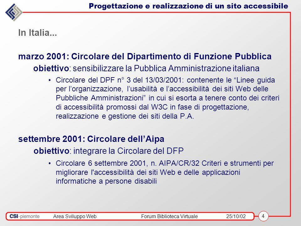 Area Sviluppo WebForum Biblioteca Virtuale25/10/02 4 In Italia... marzo 2001: Circolare del Dipartimento di Funzione Pubblica obiettivo: sensibilizzar