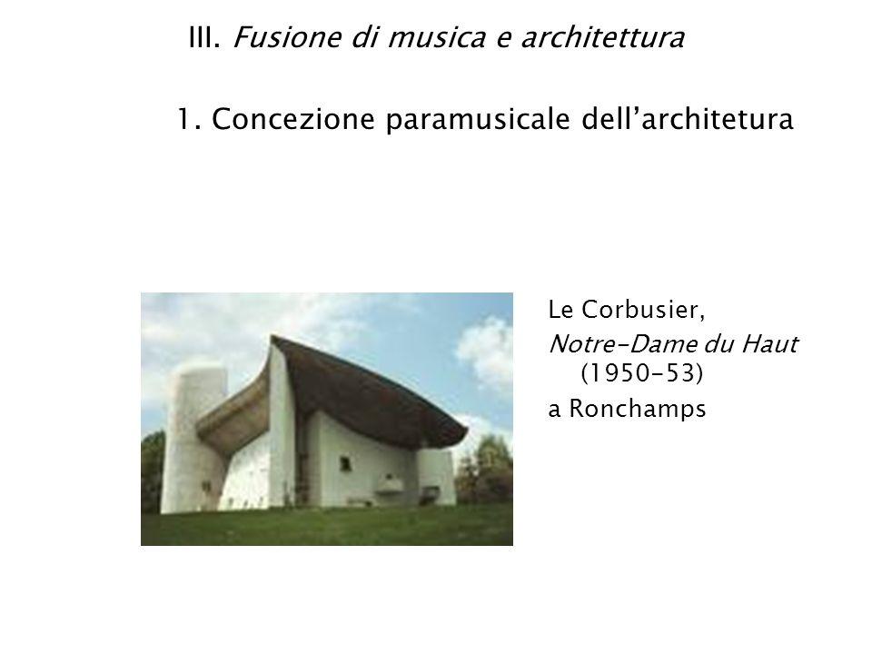 III. Fusione di musica e architettura 1. Concezione paramusicale dellarchitetura Le Corbusier, Notre-Dame du Haut (1950-53) a Ronchamps