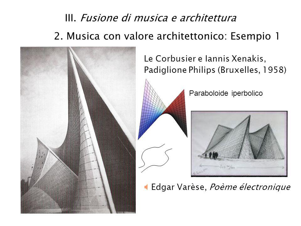 III. Fusione di musica e architettura 2. Musica con valore architettonico: Esempio 1 Le Corbusier e Iannis Xenakis, Padiglione Philips (Bruxelles, 195