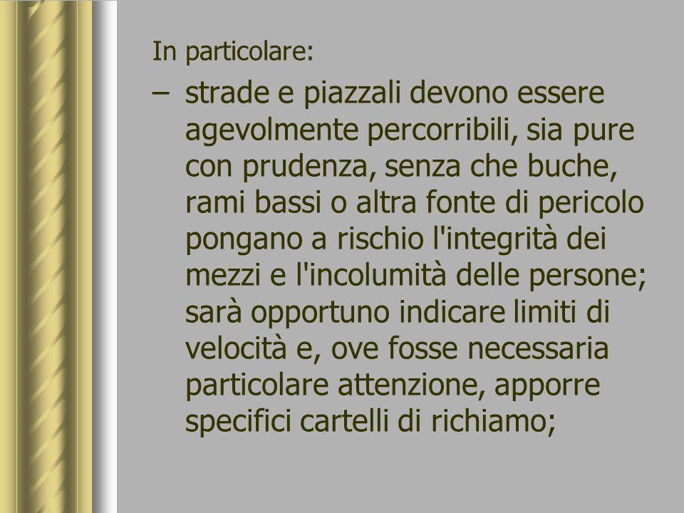 In particolare: –strade e piazzali devono essere agevolmente percorribili, sia pure con prudenza, senza che buche, rami bassi o altra fonte di pericol