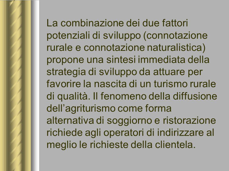 La combinazione dei due fattori potenziali di sviluppo (connotazione rurale e connotazione naturalistica) propone una sintesi immediata della strategi