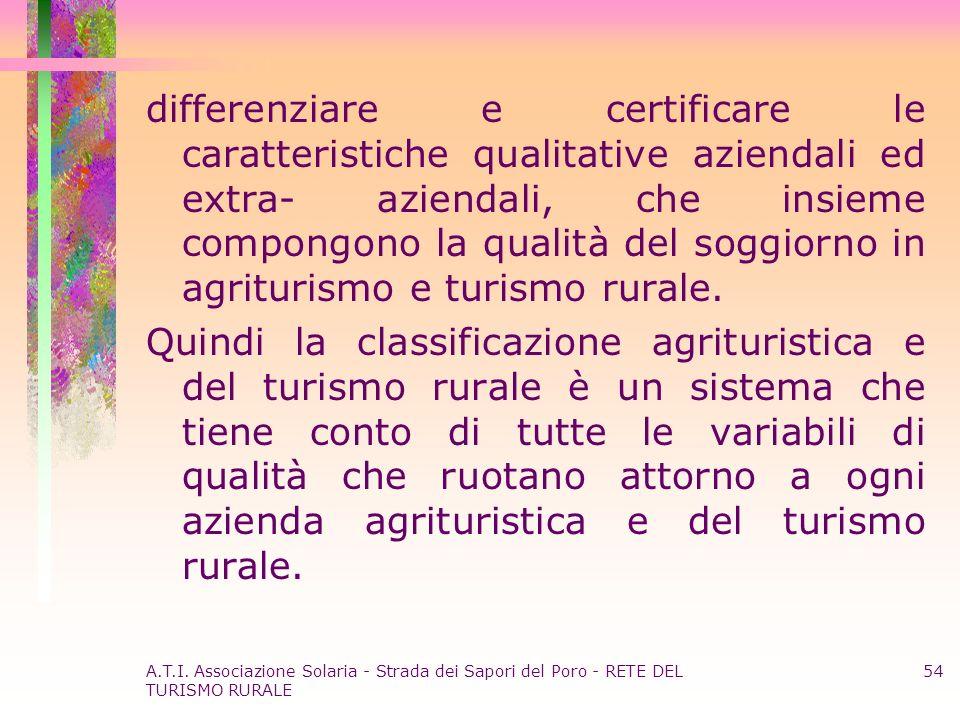 A.T.I. Associazione Solaria - Strada dei Sapori del Poro - RETE DEL TURISMO RURALE 54 differenziare e certificare le caratteristiche qualitative azien