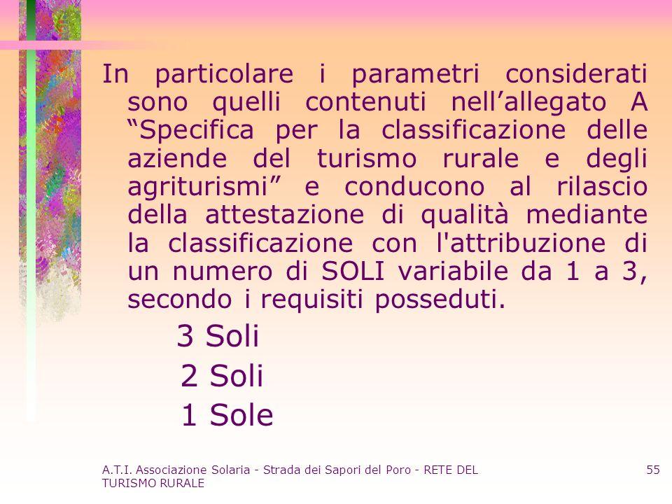 A.T.I. Associazione Solaria - Strada dei Sapori del Poro - RETE DEL TURISMO RURALE 55 In particolare i parametri considerati sono quelli contenuti nel