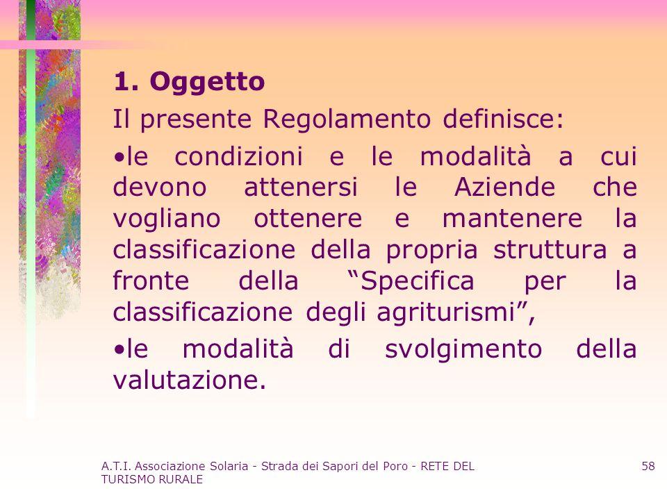 A.T.I. Associazione Solaria - Strada dei Sapori del Poro - RETE DEL TURISMO RURALE 58 1. Oggetto Il presente Regolamento definisce: le condizioni e le