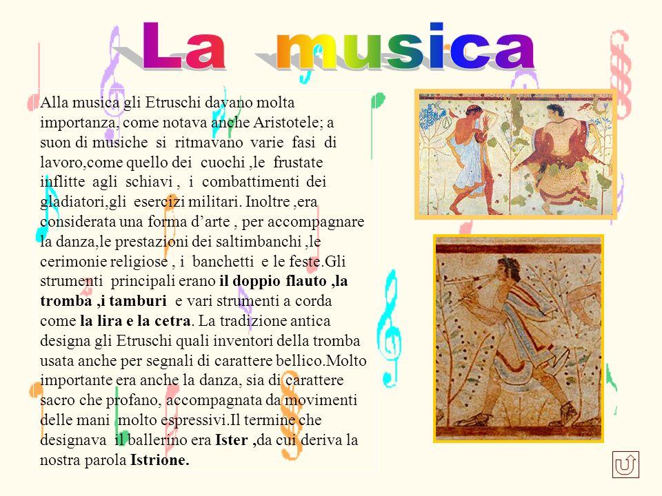 Alla musica gli Etruschi davano molta importanza, come notava anche Aristotele; a suon di musiche si ritmavano varie fasi di lavoro,come quello dei cu