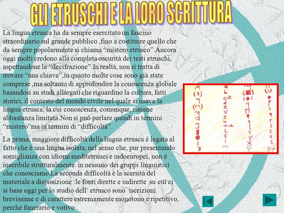 La lingua etrusca ha da sempre esercitato un fascino straordinario sul grande pubblico,fino a costituire quello che da sempre popolarmente si chiama m