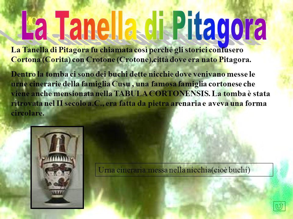 La Tanella di Pitagora fu chiamata così perché gli storici confusero Cortona (Corita) con Crotone (Crotone),città dove era nato Pitagora. Dentro la to