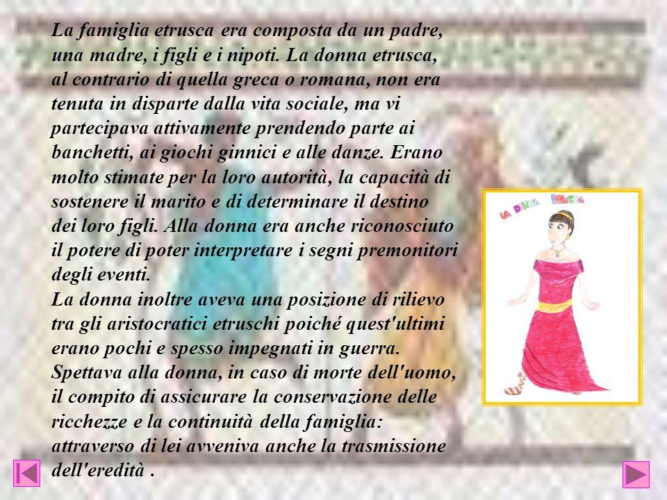 La famiglia etrusca era composta da un padre, una madre, i figli e i nipoti. La donna etrusca, al contrario di quella greca o romana, non era tenuta i
