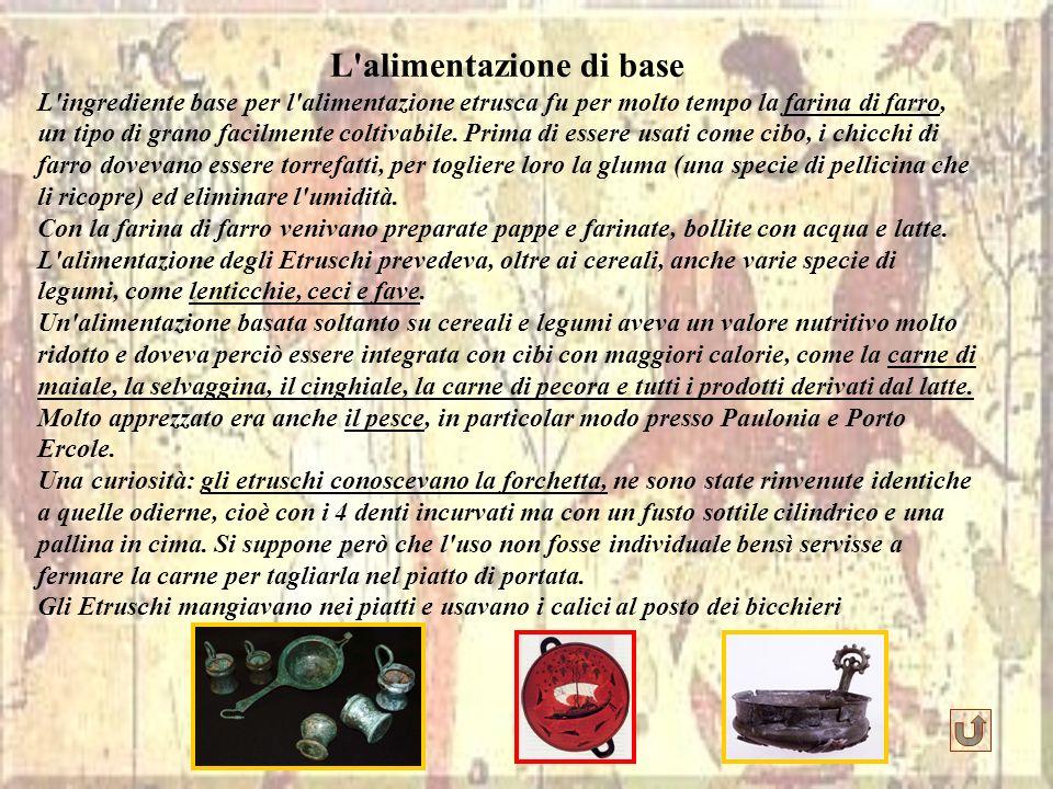 L'alimentazione di base L'ingrediente base per l'alimentazione etrusca fu per molto tempo la farina di farro, un tipo di grano facilmente coltivabile.