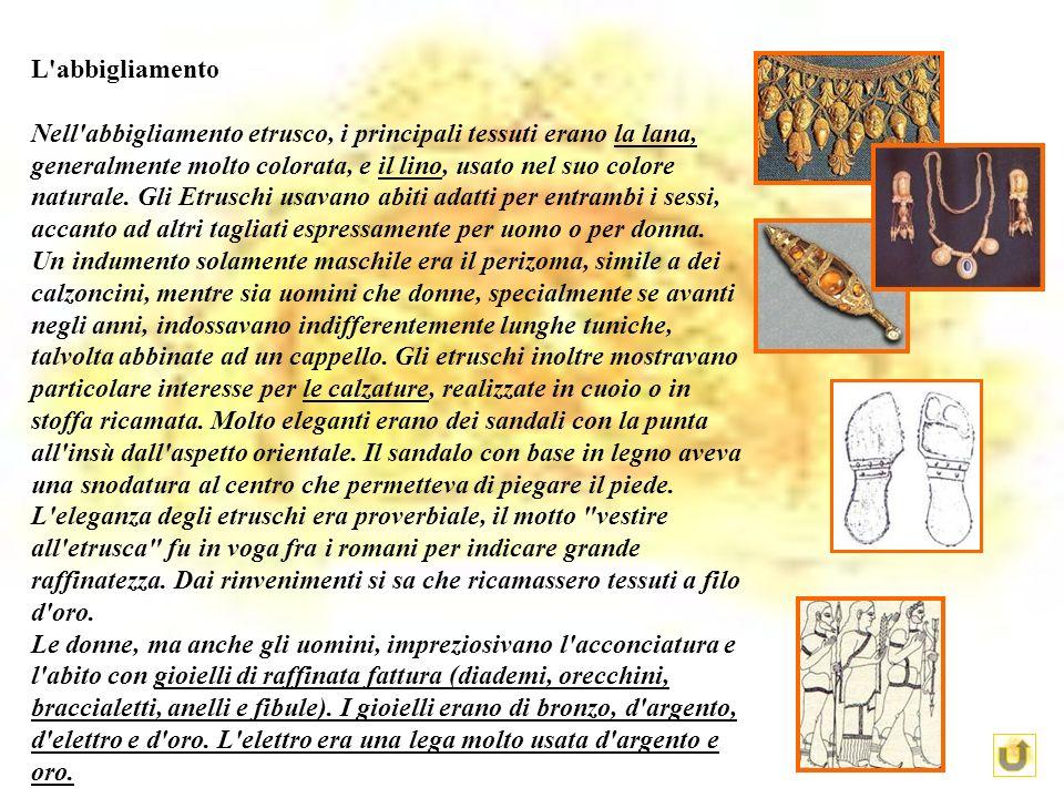 L'abbigliamento Nell'abbigliamento etrusco, i principali tessuti erano la lana, generalmente molto colorata, e il lino, usato nel suo colore naturale.