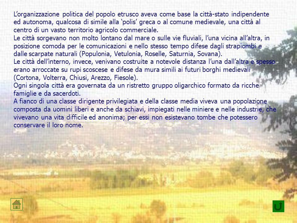 Lorganizzazione politica del popolo etrusco aveva come base la città-stato indipendente ed autonoma, qualcosa di simile alla polis greca o al comune m