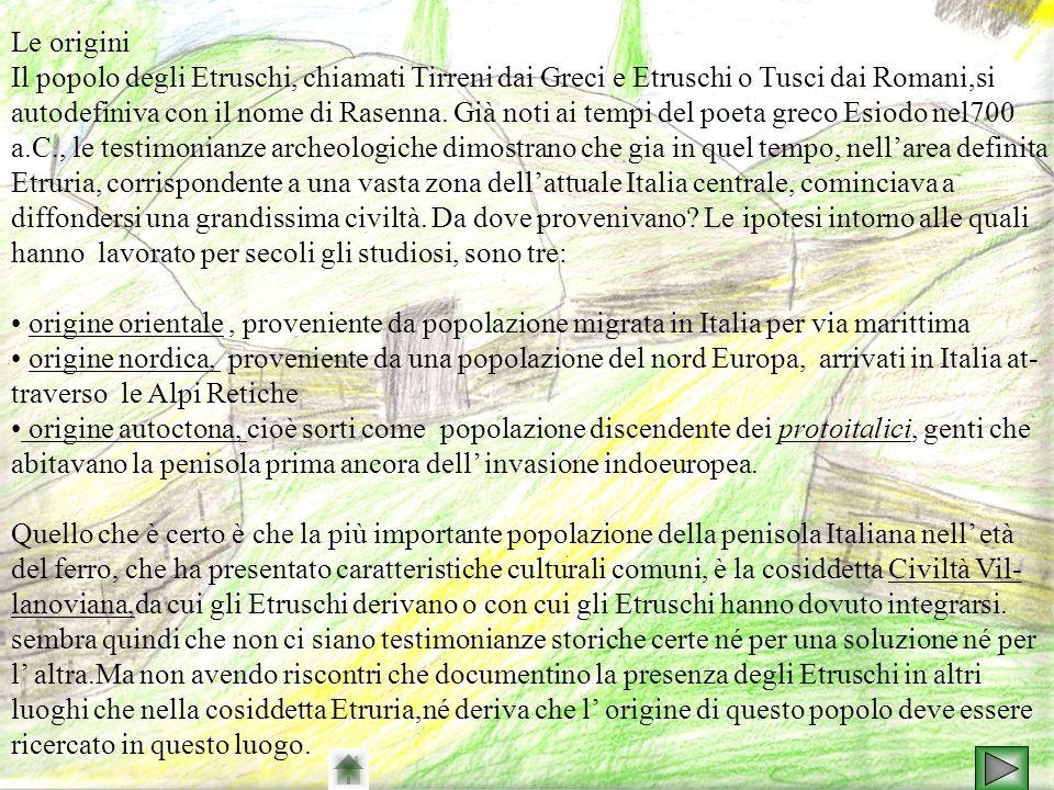 Le origini Il popolo degli Etruschi, chiamati Tirreni dai Greci e Etruschi o Tusci dai Romani,si autodefiniva con il nome di Rasenna. Già noti ai temp