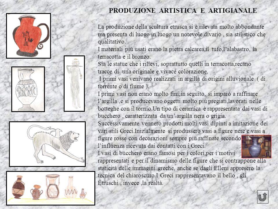 PRODUZIONE ARTISTICA E ARTIGIANALE La produzione della scultura etrusca si è rilevata molto abbondante ma presenta di luogo in luogo un notevole divar