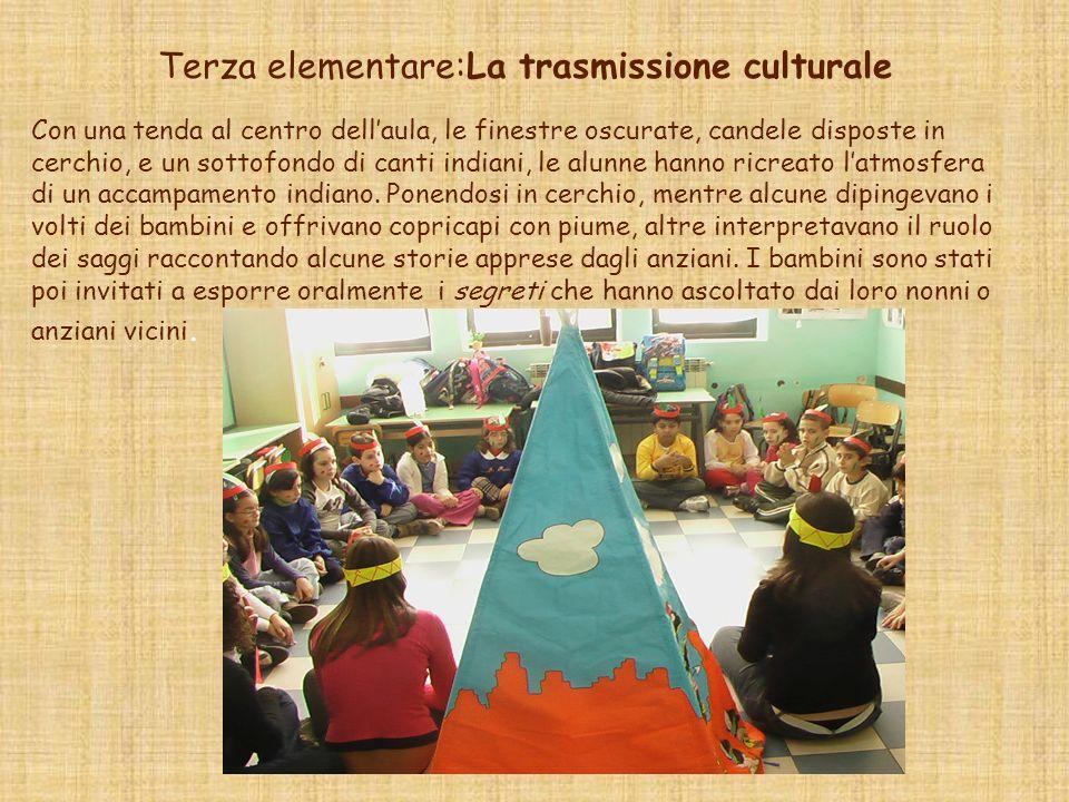 Terza elementare:La trasmissione culturale Con una tenda al centro dellaula, le finestre oscurate, candele disposte in cerchio, e un sottofondo di can
