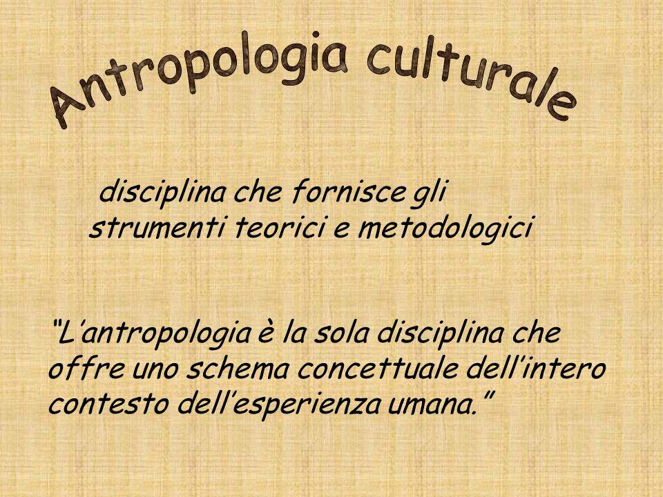 disciplina che fornisce gli strumenti teorici e metodologici Lantropologia è la sola disciplina che offre uno schema concettuale dellintero contesto d