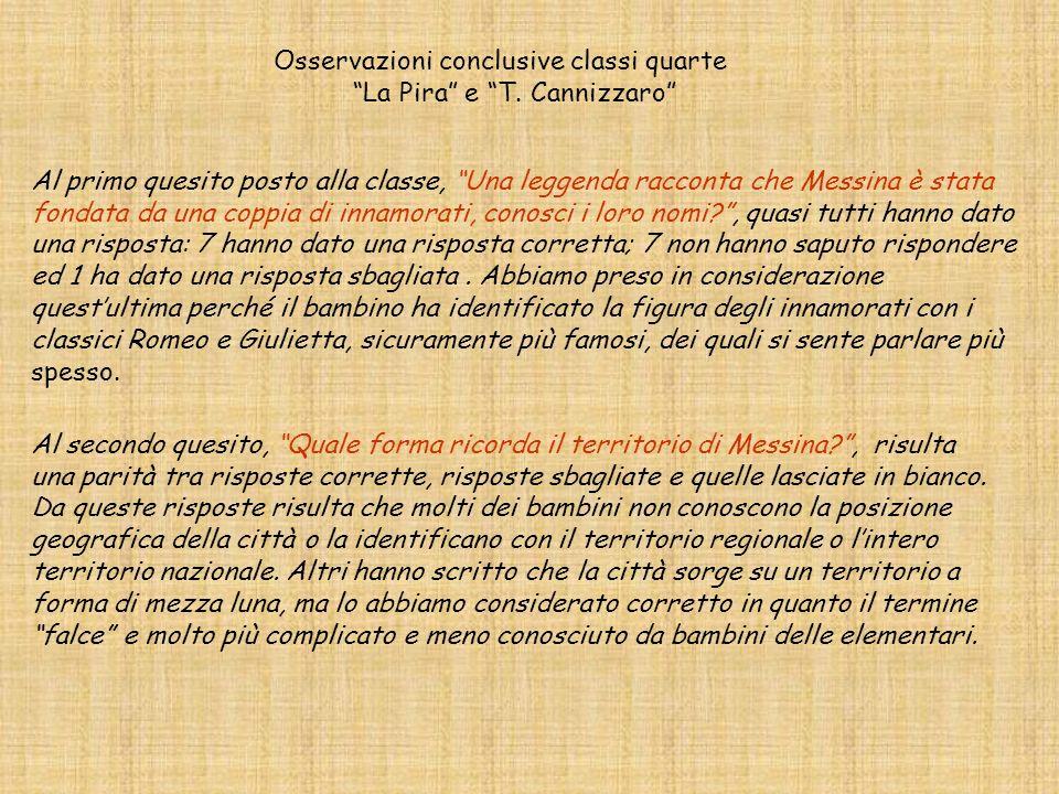 Osservazioni conclusive classi quarte La Pira e T. Cannizzaro Al primo quesito posto alla classe, Una leggenda racconta che Messina è stata fondata da