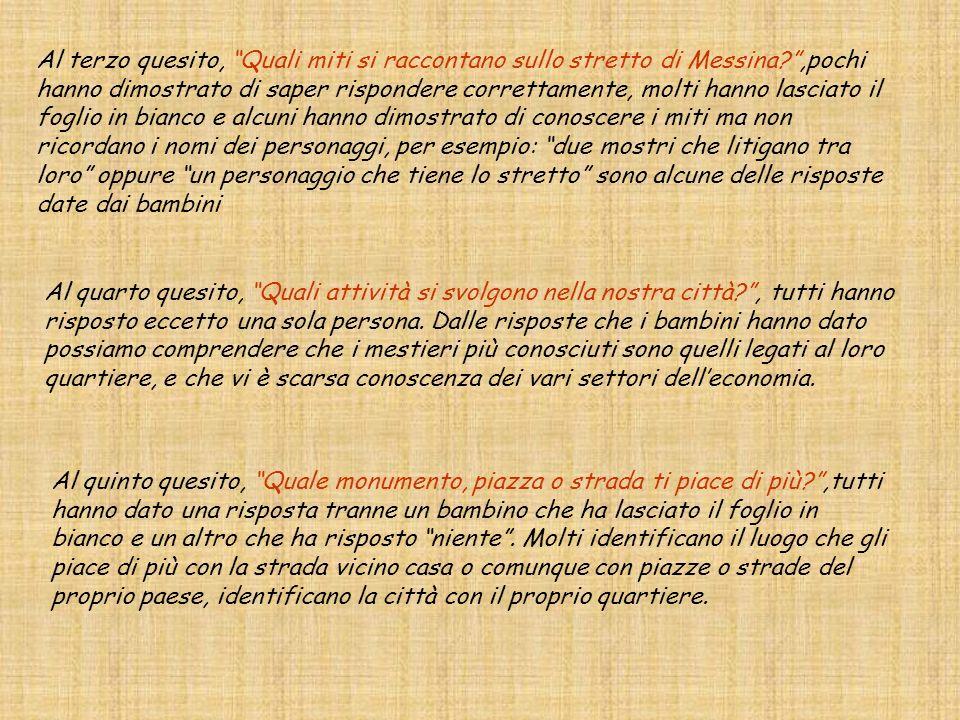 Al terzo quesito, Quali miti si raccontano sullo stretto di Messina?,pochi hanno dimostrato di saper rispondere correttamente, molti hanno lasciato il