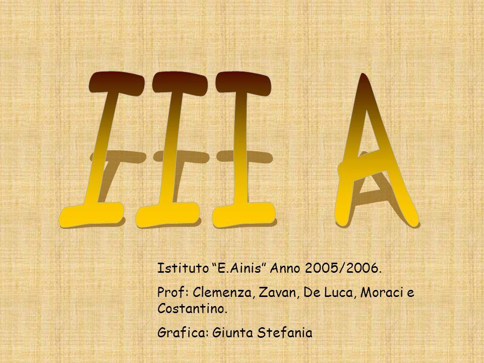 Istituto E.Ainis Anno 2005/2006. Prof: Clemenza, Zavan, De Luca, Moraci e Costantino. Grafica: Giunta Stefania
