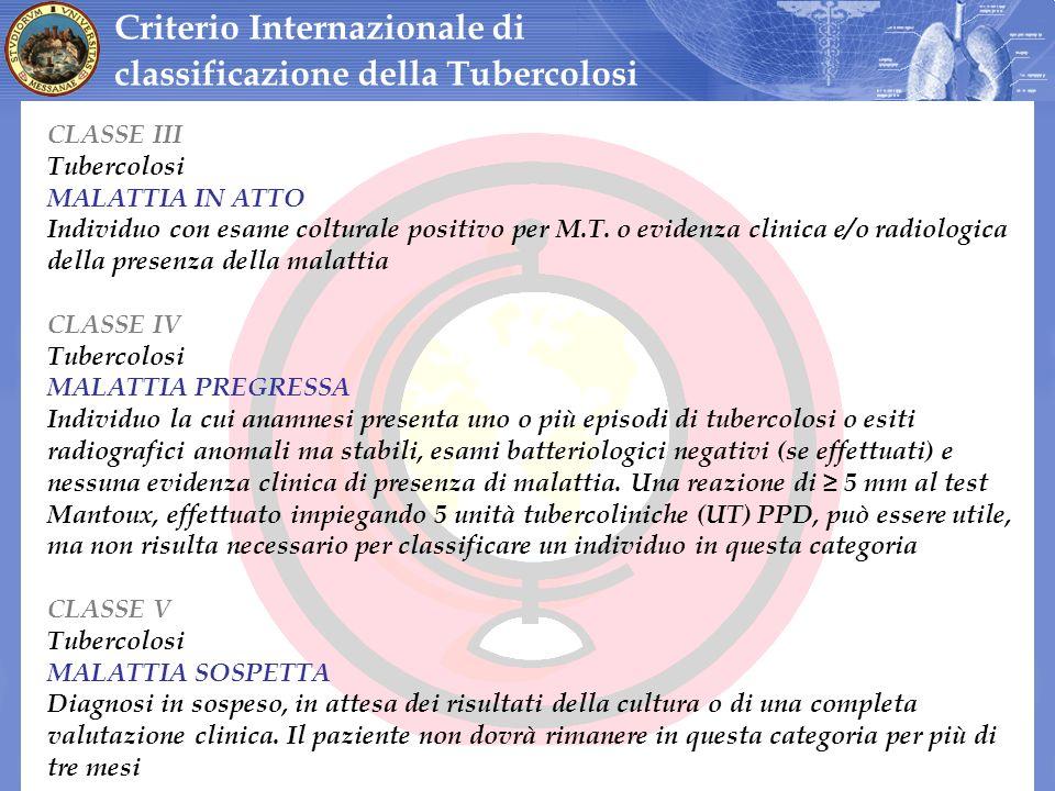 CLASSE III Tubercolosi MALATTIA IN ATTO Individuo con esame colturale positivo per M.T. o evidenza clinica e/o radiologica della presenza della malatt