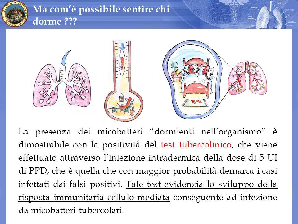 La presenza dei micobatteri dormienti nellorganismo è dimostrabile con la positività del test tubercolinico, che viene effettuato attraverso liniezion