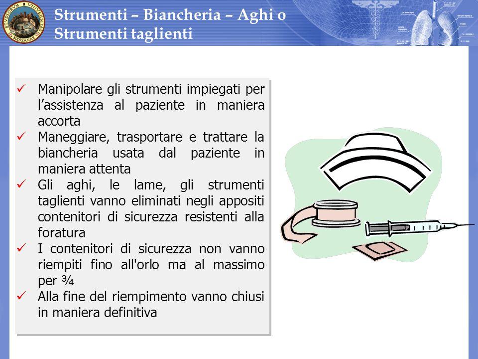 Manipolare gli strumenti impiegati per lassistenza al paziente in maniera accorta Maneggiare, trasportare e trattare la biancheria usata dal paziente
