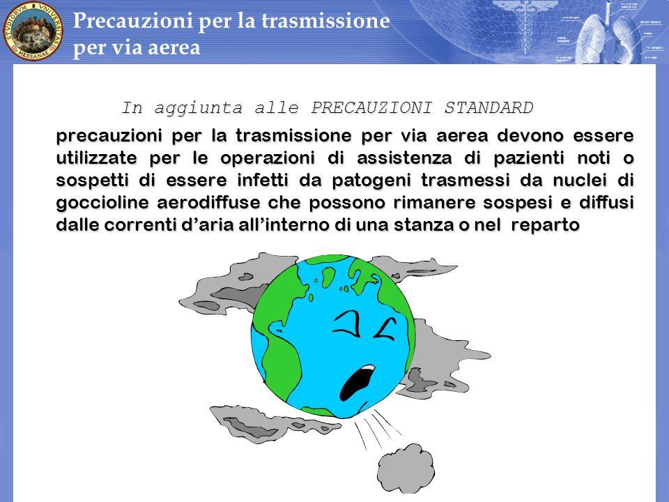 In aggiunta alle PRECAUZIONI STANDARD In aggiunta alle PRECAUZIONI STANDARD precauzioni per la trasmissione per via aerea devono essere utilizzate per