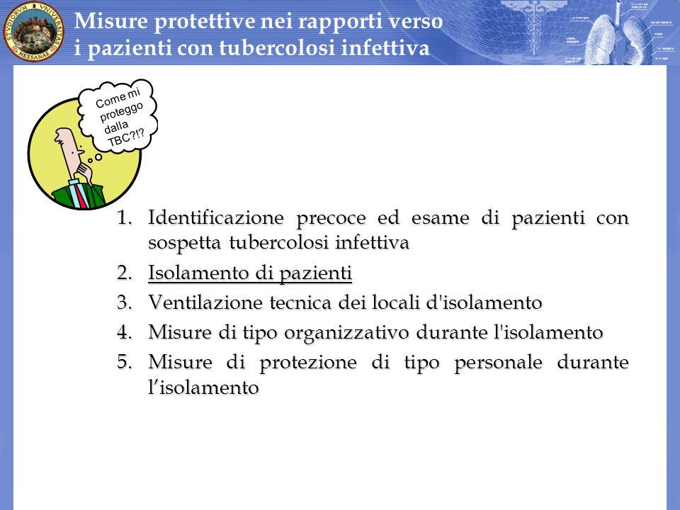 1.Identificazione precoce ed esame di pazienti con sospetta tubercolosi infettiva 2.Isolamento di pazienti 3.Ventilazione tecnica dei locali d'isolame