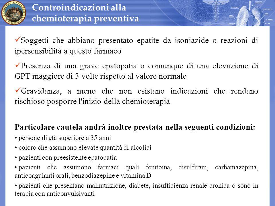 Controindicazioni alla chemioterapia preventiva S oggetti che abbiano presentato epatite da isoniazide o reazioni di ipersensibilità a questo farmaco