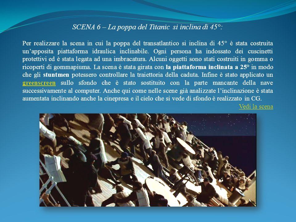 SCENA 6 – La poppa del Titanic si inclina di 45°: Per realizzare la scena in cui la poppa del transatlantico si inclina di 45° è stata costruita unapp