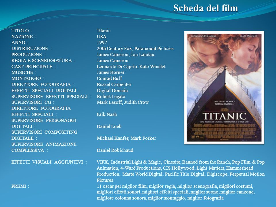 Scheda del film TITOLO : Titanic NAZIONE : USA ANNO : 1997 DISTRIBUZIONE : 20th Century Fox, Paramount Pictures PRODUZIONE : James Cameron, Jon Landau