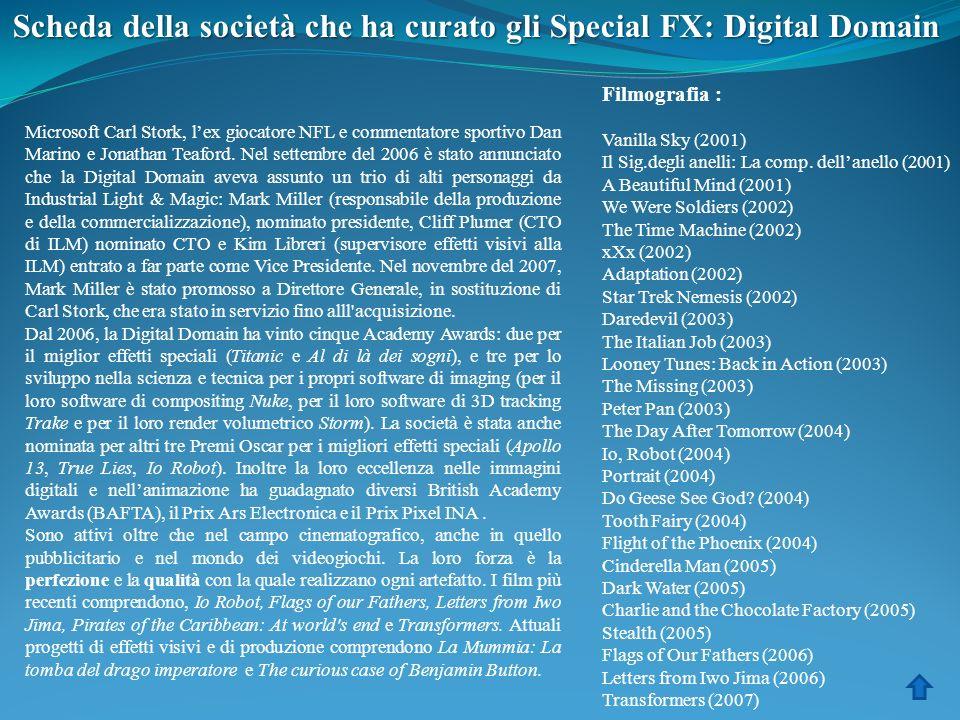 Scheda della società che ha curato gli Special FX: Digital Domain Microsoft Carl Stork, lex giocatore NFL e commentatore sportivo Dan Marino e Jonatha