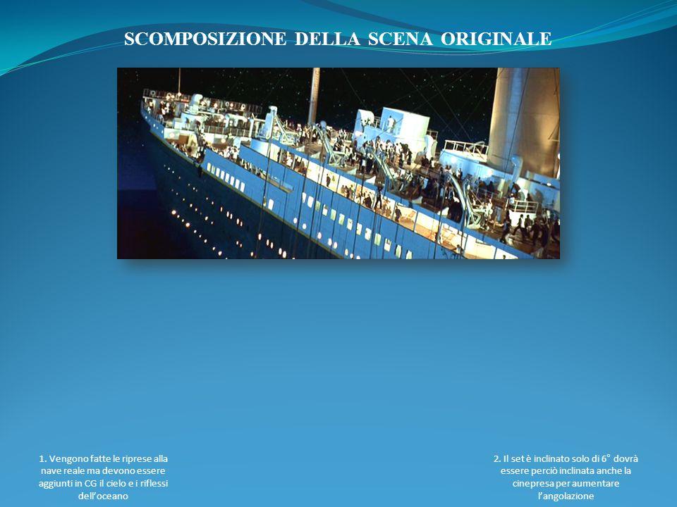 SCOMPOSIZIONE DELLA SCENA ORIGINALE 1. Vengono fatte le riprese alla nave reale ma devono essere aggiunti in CG il cielo e i riflessi delloceano 2. Il
