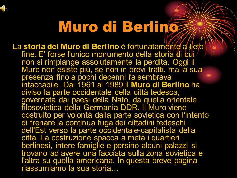 Storia del Muro di Berlino Dopo la fine della seconda guerra mondiale Berlino è divisa in zone di occupazione sotto il diretto controllo militare degli eserciti dei paesi vincitori della guerra.