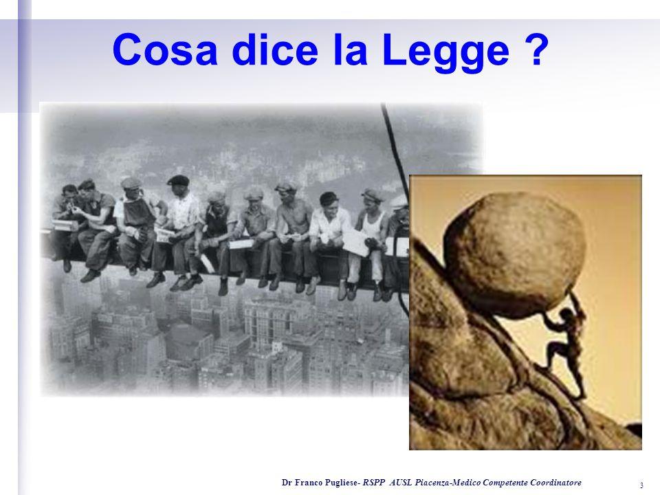 I s t i t u t o S u p e r i o r e di Formazione alla Prevenzione Dr Franco Pugliese- RSPP AUSL Piacenza-Medico Competente Coordinatore 3 Cosa dice la Legge ?