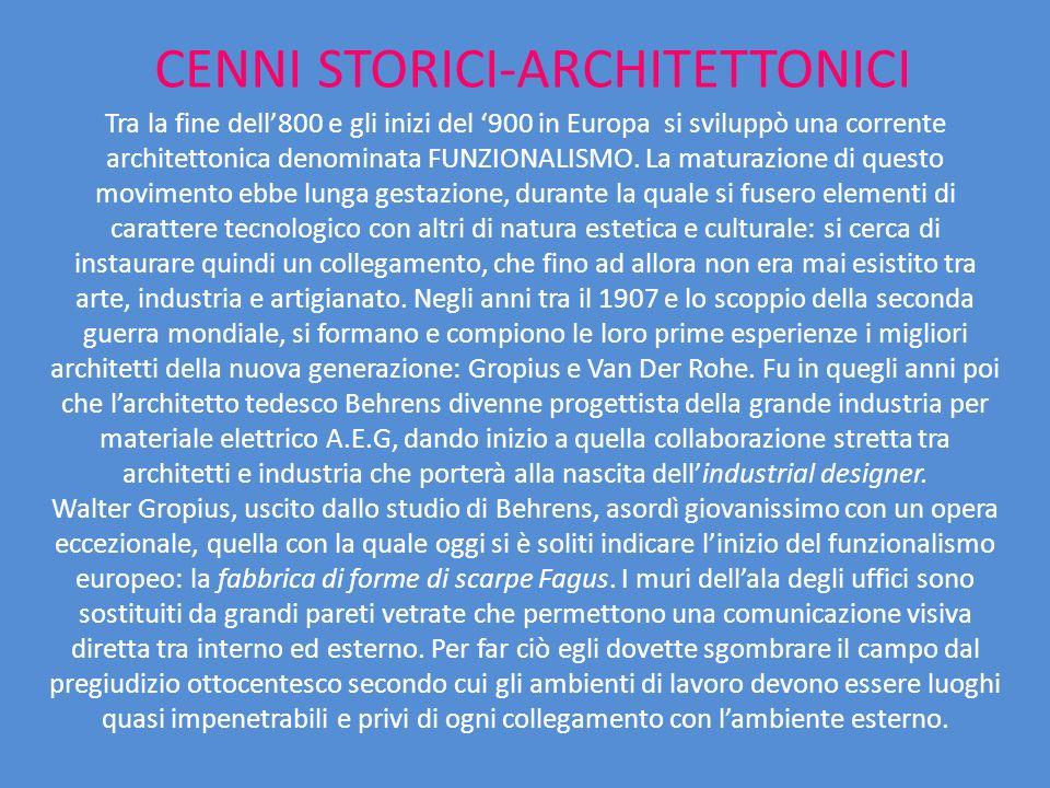 CENNI STORICI-ARCHITETTONICI Tra la fine dell800 e gli inizi del 900 in Europa si sviluppò una corrente architettonica denominata FUNZIONALISMO. La ma