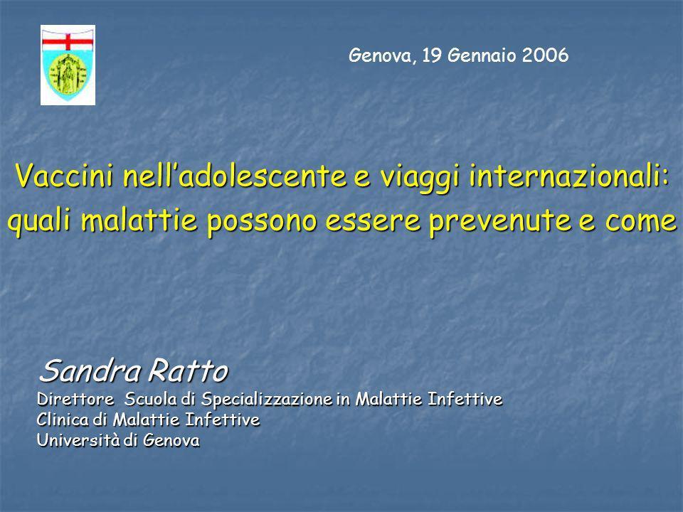 Sandra Ratto Direttore Scuola di Specializzazione in Malattie Infettive Clinica di Malattie Infettive Università di Genova Vaccini nelladolescente e v