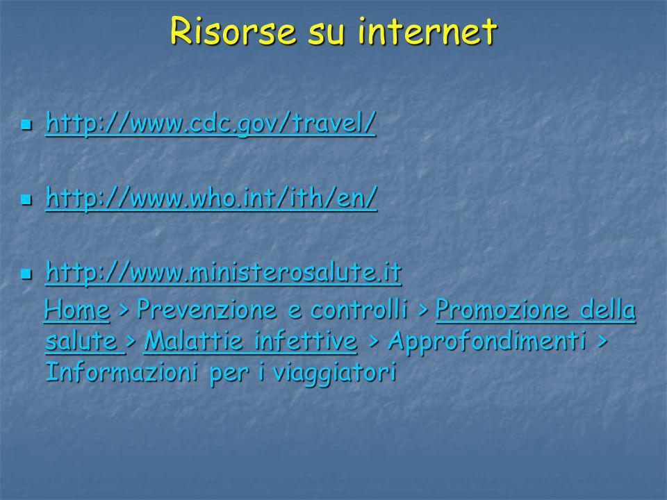 Risorse su internet http://www.cdc.gov/travel/ http://www.cdc.gov/travel/ http://www.cdc.gov/travel/ http://www.who.int/ith/en/ http://www.who.int/ith