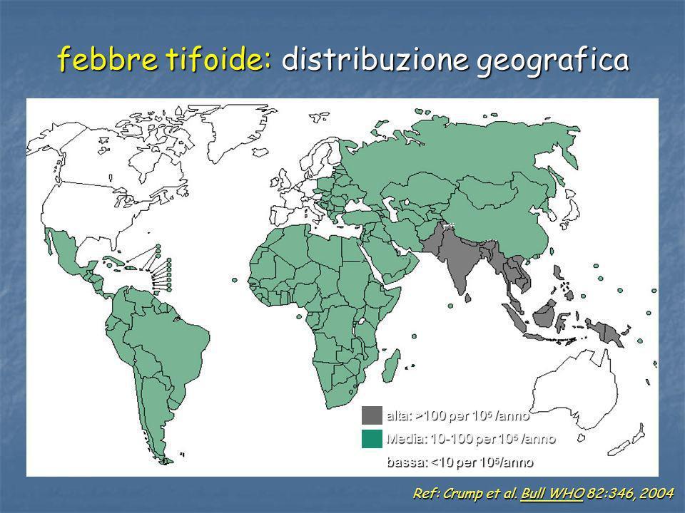 febbre tifoide: distribuzione geografica Ref: Crump et al. Bull WHO 82:346, 2004 alta: >100 per 10 5 /anno Media: 10-100 per 10 5 /anno bassa: <10 per