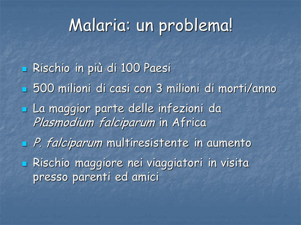 Malaria: un problema! Rischio in più di 100 Paesi Rischio in più di 100 Paesi 500 milioni di casi con 3 milioni di morti/anno 500 milioni di casi con