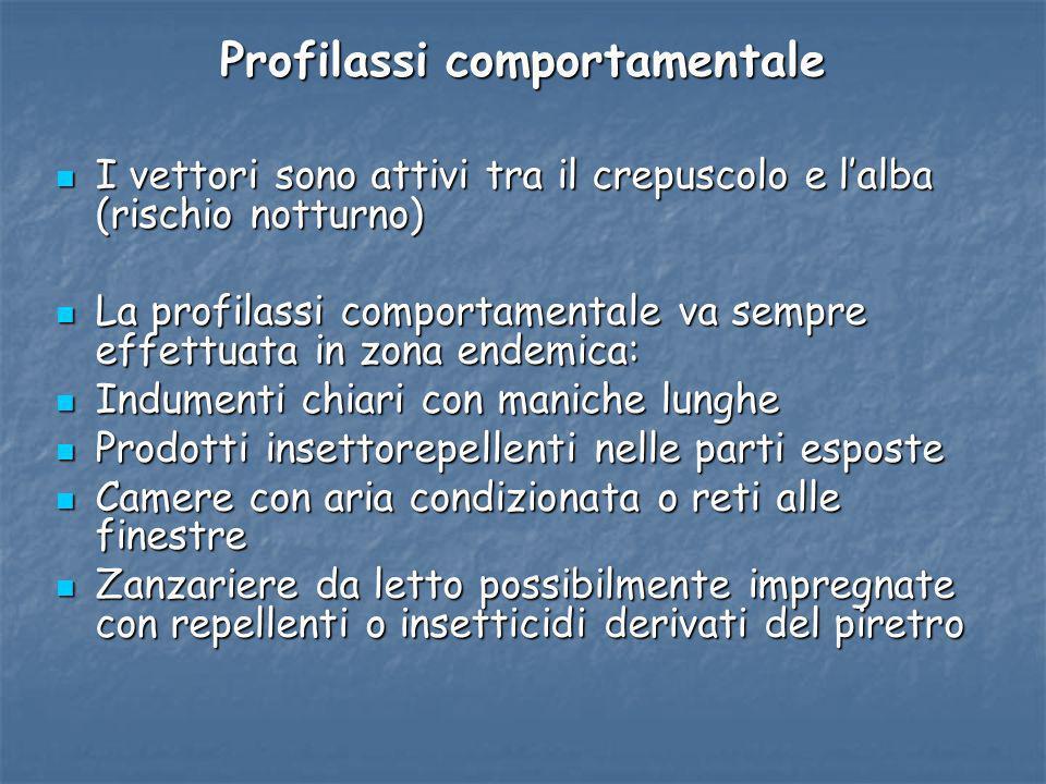Profilassi comportamentale I vettori sono attivi tra il crepuscolo e lalba (rischio notturno) I vettori sono attivi tra il crepuscolo e lalba (rischio