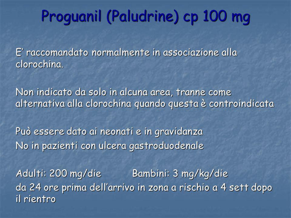Proguanil (Paludrine) cp 100 mg E raccomandato normalmente in associazione alla clorochina. Non indicato da solo in alcuna area, tranne come alternati