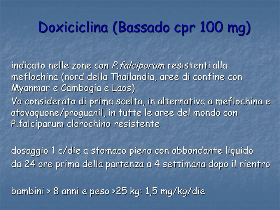 Doxiciclina (Bassado cpr 100 mg) indicato nelle zone con P.falciparum resistenti alla meflochina (nord della Thailandia, aree di confine con Myanmar e
