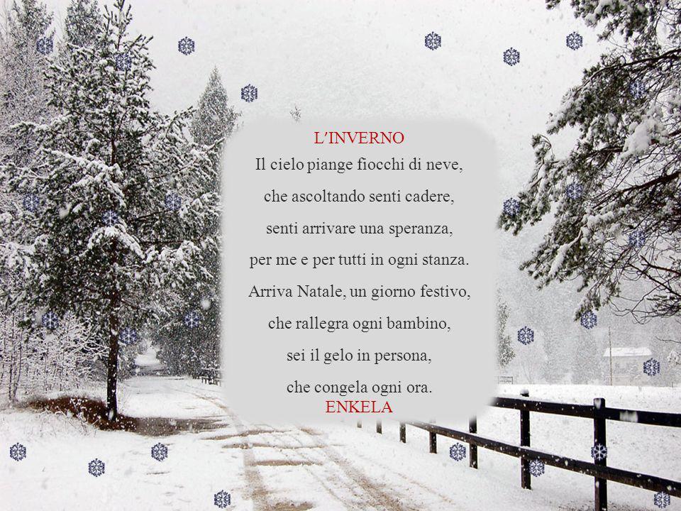 L INVERNO Il cielo piange fiocchi di neve, che ascoltando senti cadere, senti arrivare una speranza, per me e per tutti in ogni stanza.