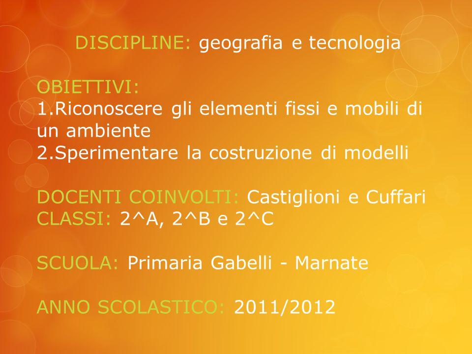 DISCIPLINE: geografia e tecnologia OBIETTIVI: 1.Riconoscere gli elementi fissi e mobili di un ambiente 2.Sperimentare la costruzione di modelli DOCENTI COINVOLTI: Castiglioni e Cuffari CLASSI: 2^A, 2^B e 2^C SCUOLA: Primaria Gabelli - Marnate ANNO SCOLASTICO: 2011/2012